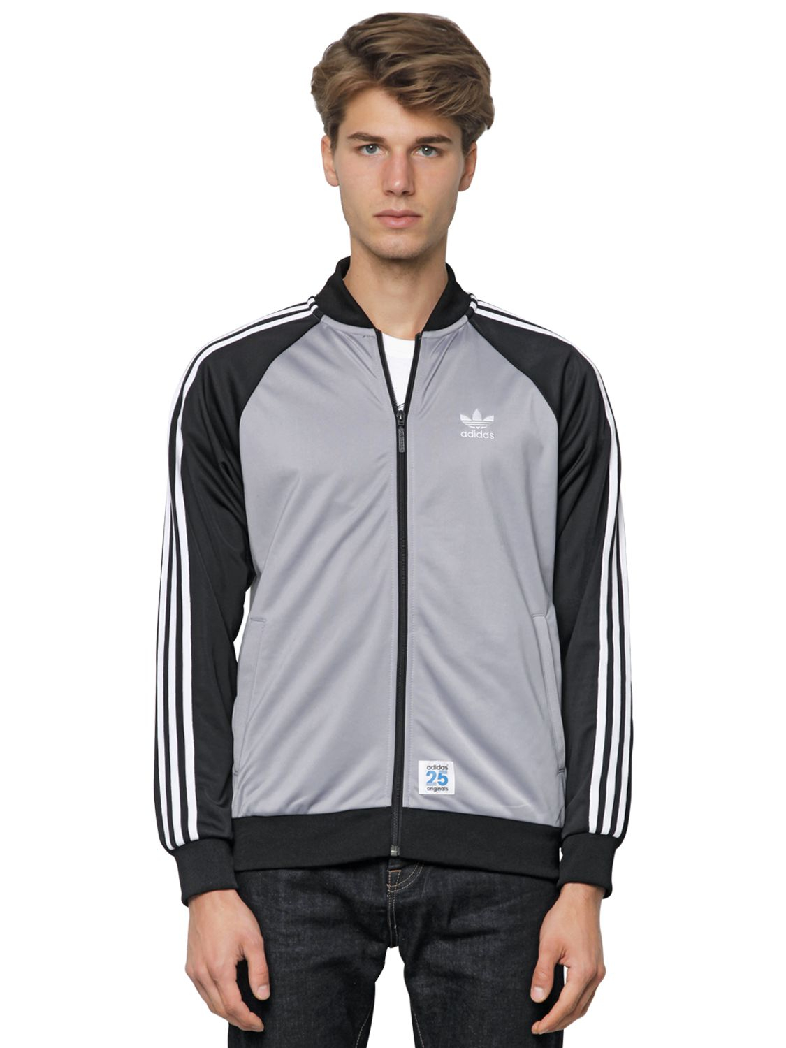 Adidas Originals Two Tone Zip Up Bomber Jacket In Gray For Men Lyst