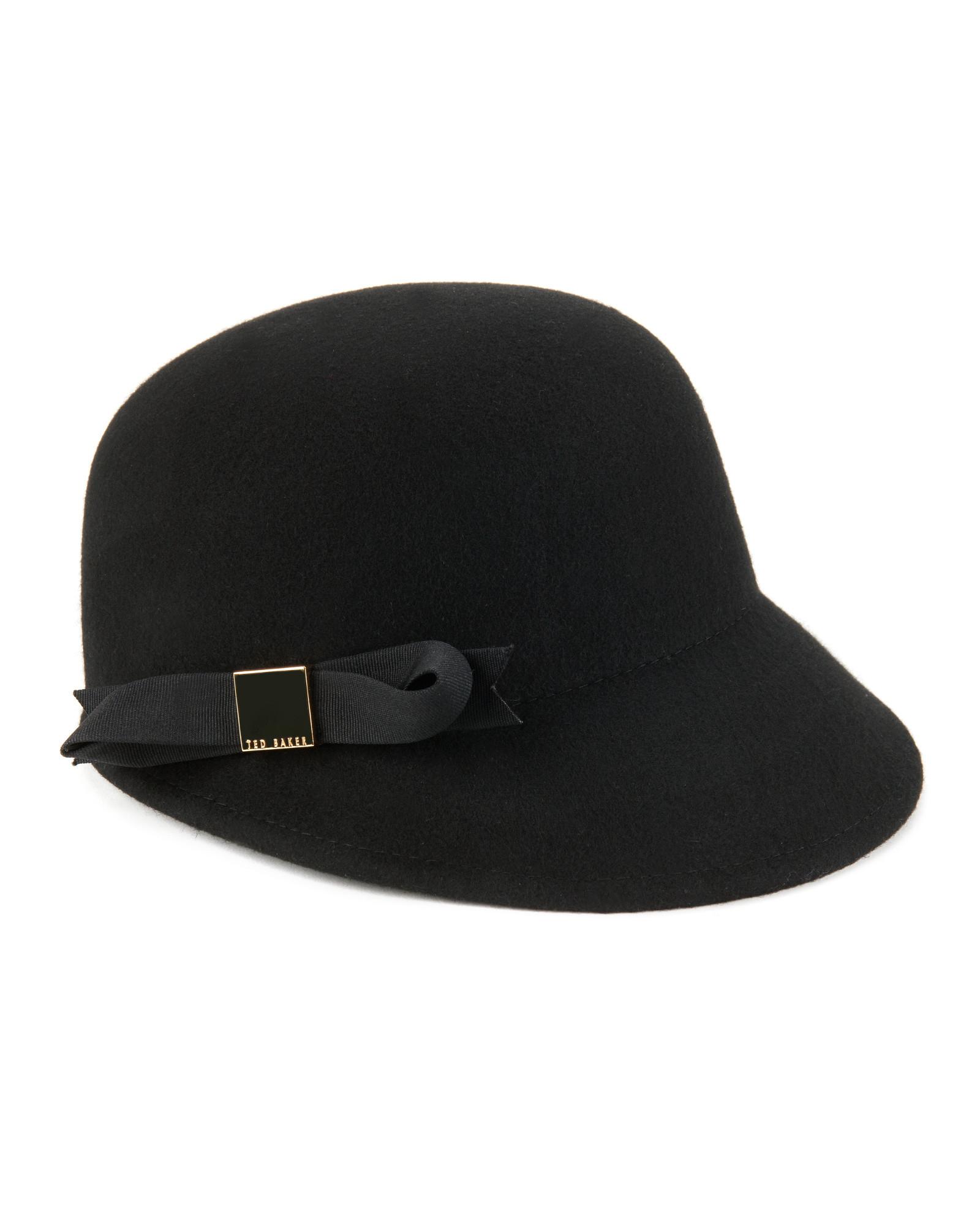 611d13ea95f Lyst Ted Baker Bow Felt Cap In Black