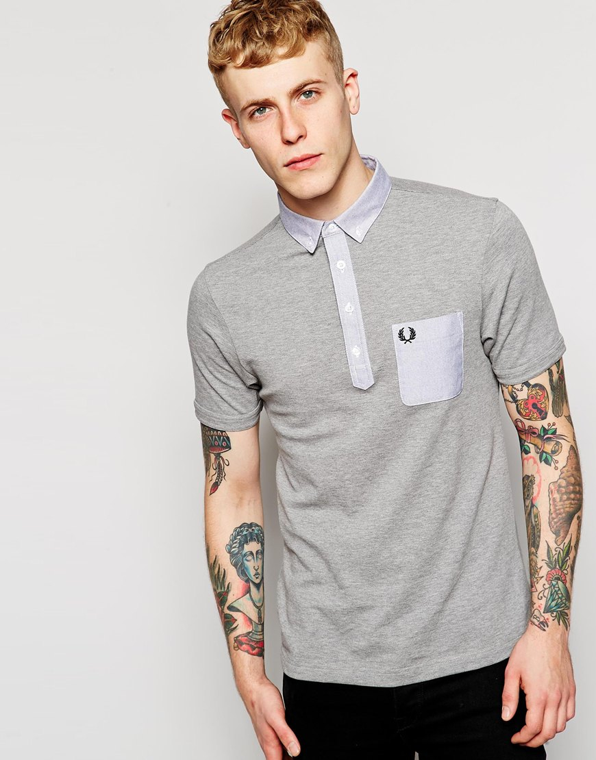 fred perry polo shirt with contrast pocket slim fit in. Black Bedroom Furniture Sets. Home Design Ideas