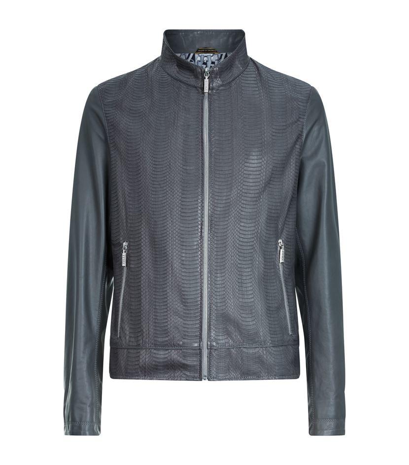 Zilli Snakeskin Bomber Jacket in Gray for Men   Lyst