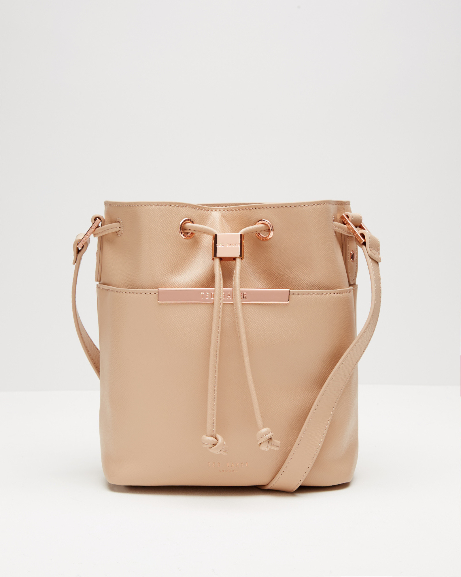 9708038ca1c972 Ted Baker Crosshatch Leather Mini Bucket Bag in Brown - Lyst