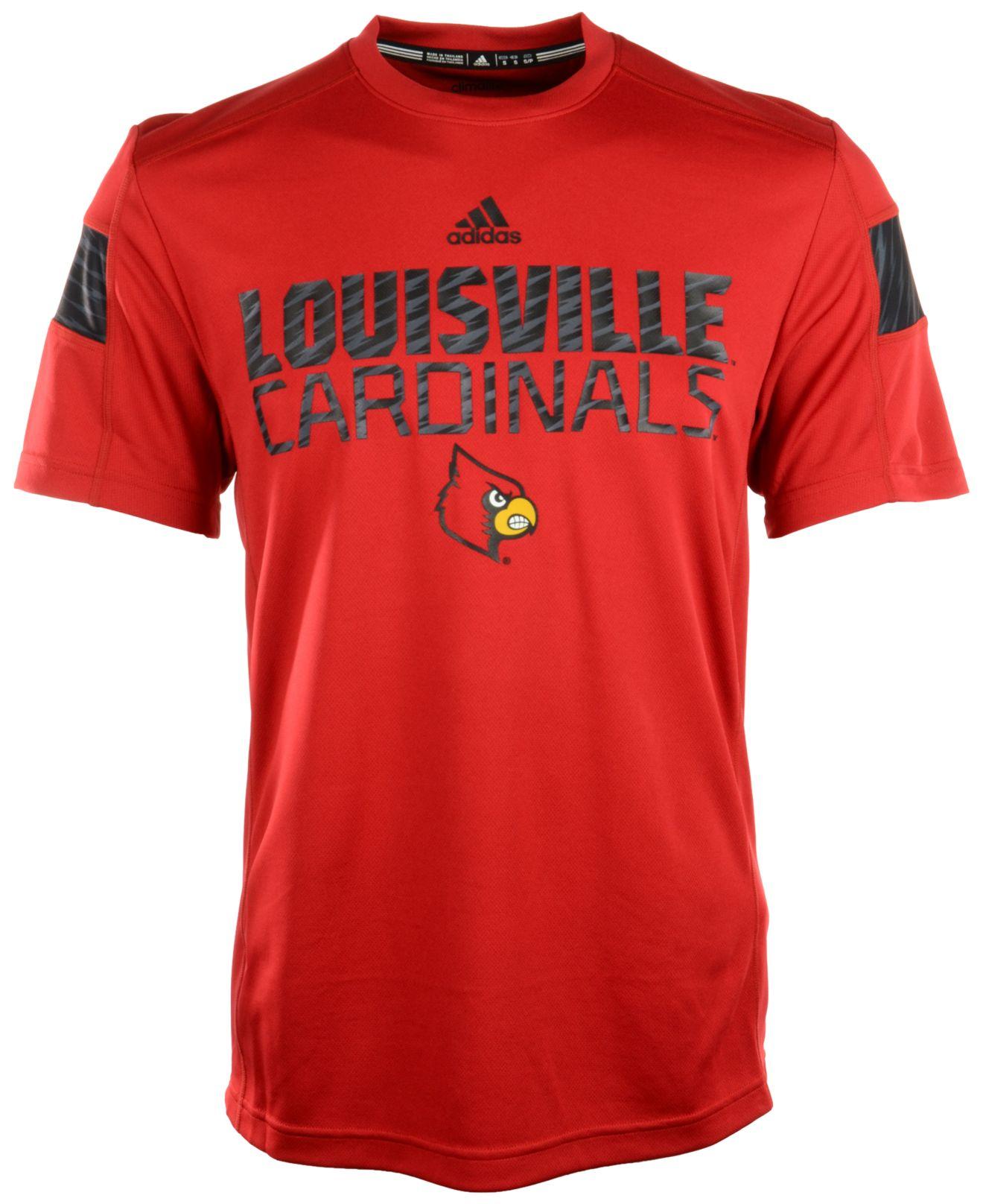 Adidas men 39 s louisville cardinals sideline player t shirt for Louisville t shirt printing
