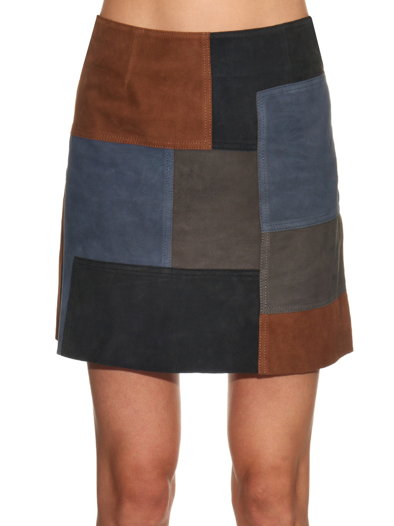 bdc21b50a6 M.i.h Jeans Patchwork Suede Mini Skirt in Brown - Lyst