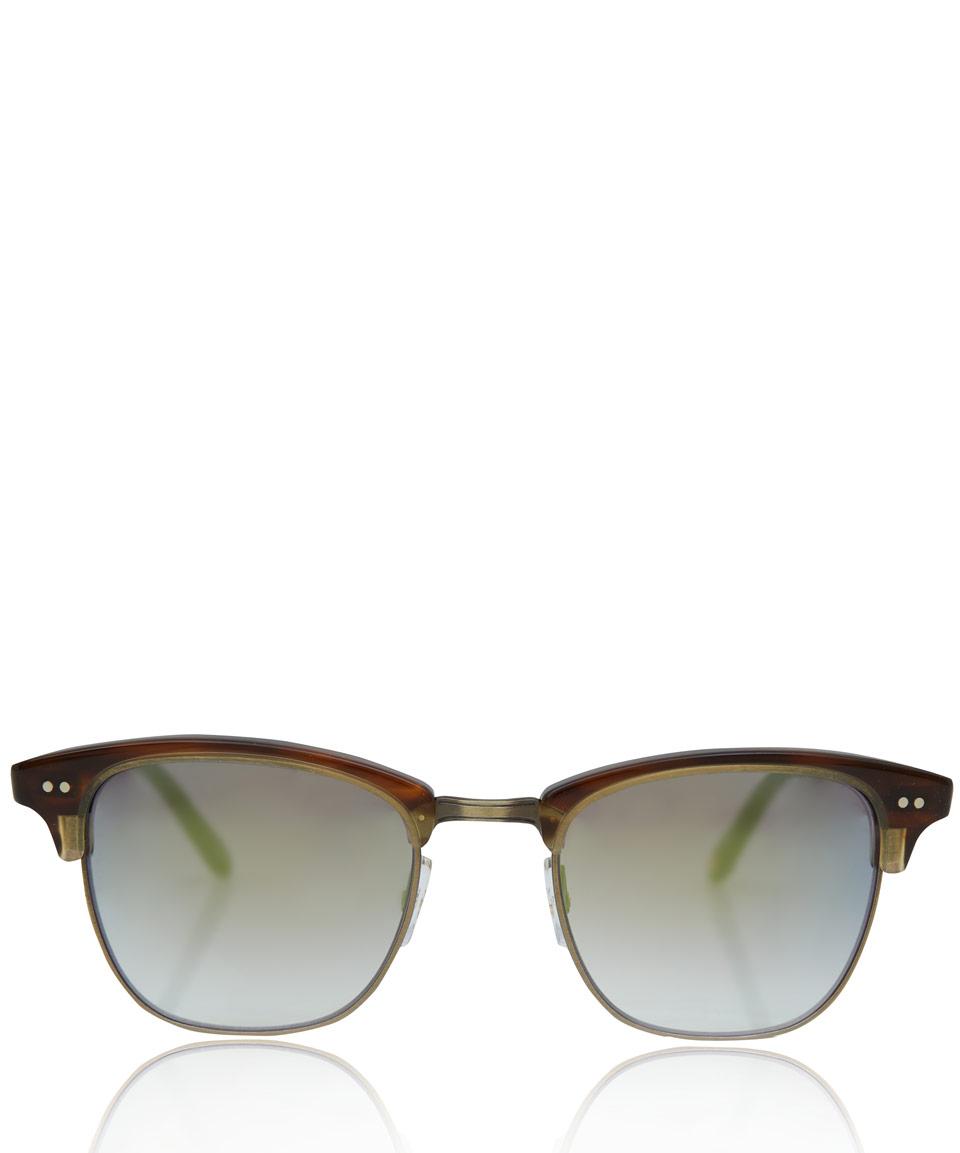 Half Frame Glasses Brown : Garrett leight Brown Lincoln Half Frame Sunglasses in ...