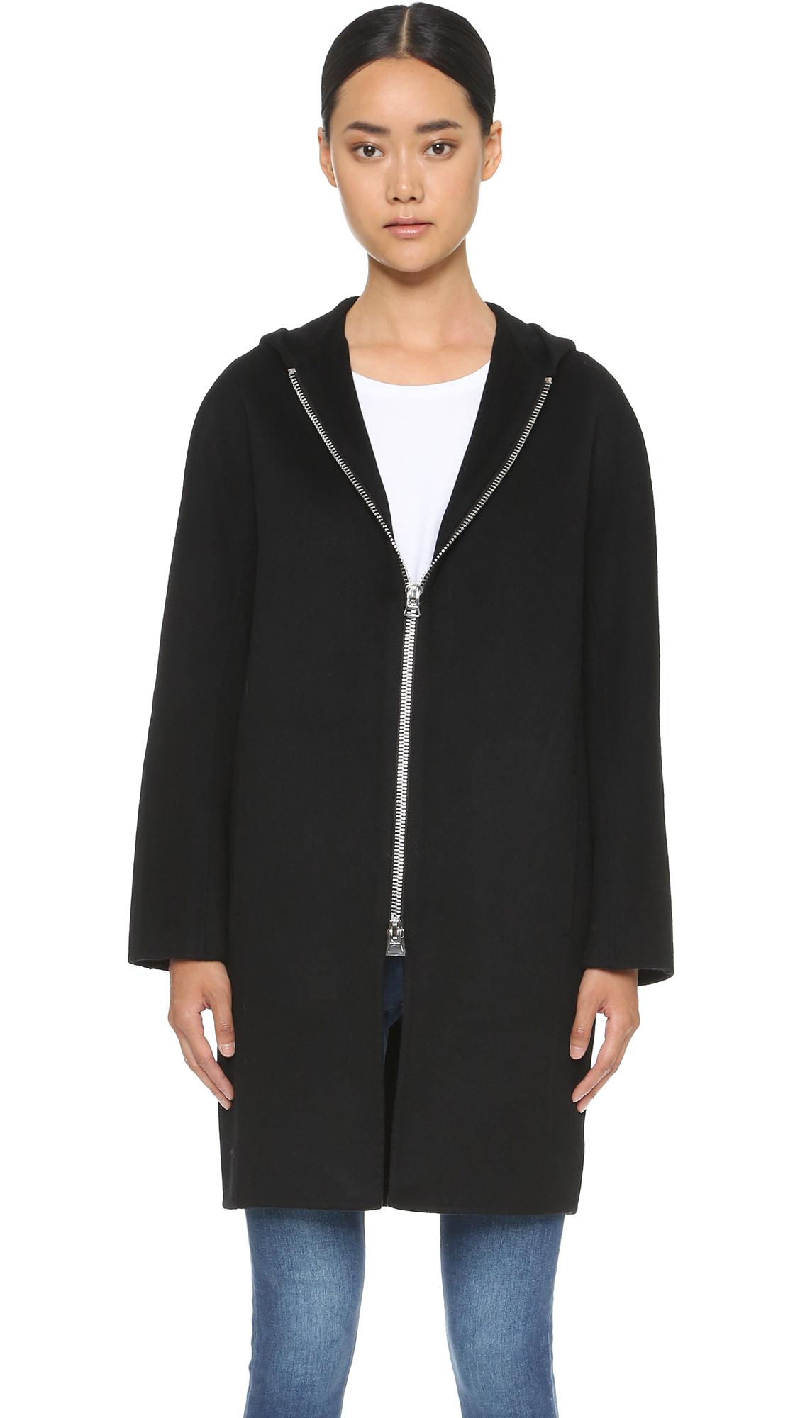 Acne Emile Hooded Coat - Black in Black | Lyst