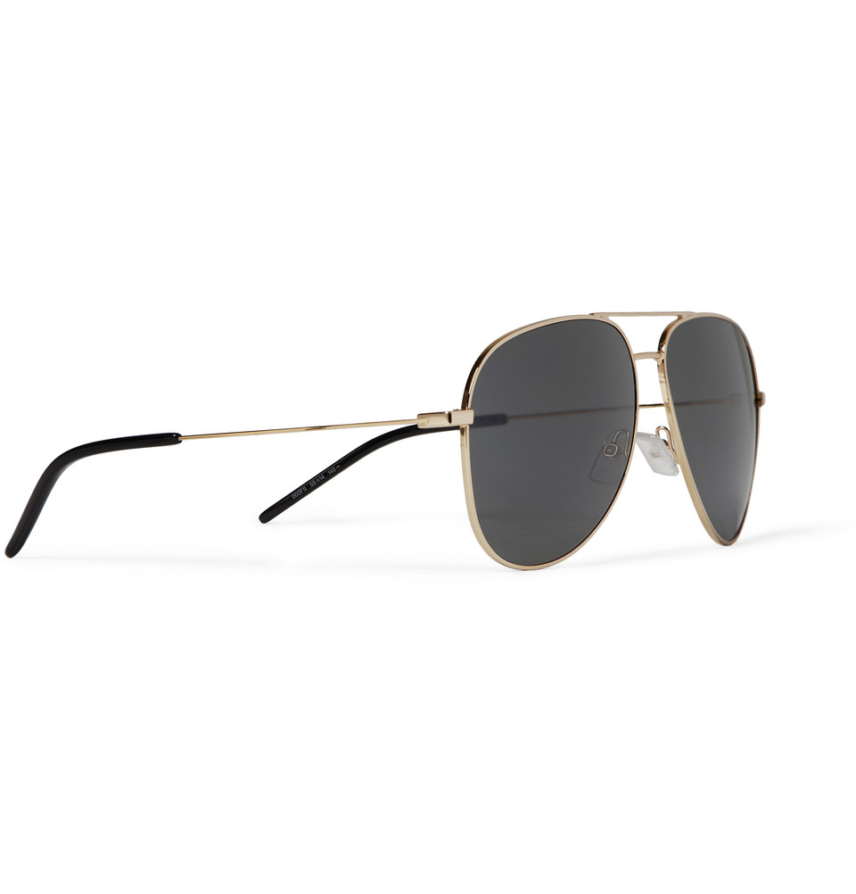 c3b81f0943a62 Saint Laurent Gold-tone Aviator Sunglasses