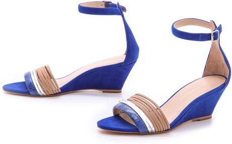 Loeffler Randall Addie Ankle Strap Wedges in Blue (Buff/Blue) - Lyst