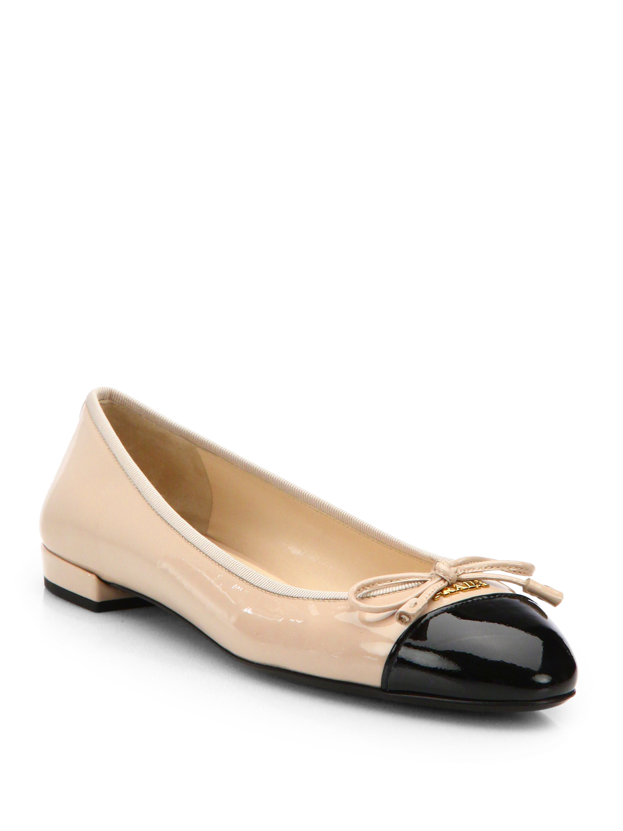 9744252375 Prada Patent Leather Cap-Toe Ballet Flats in Black - Lyst