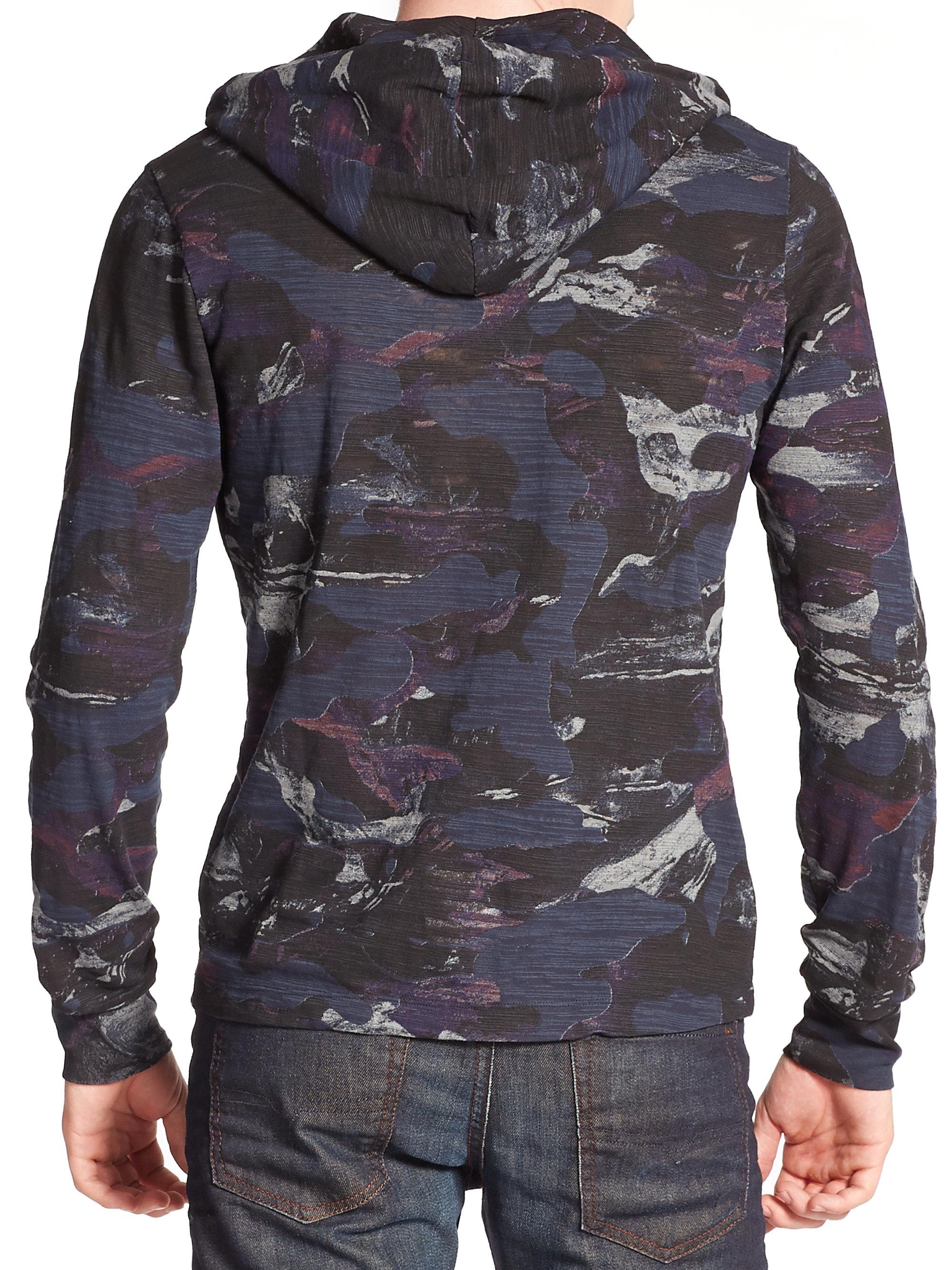 Lyst Diesel Omoe Camo Print Hoodie In Blue For Men