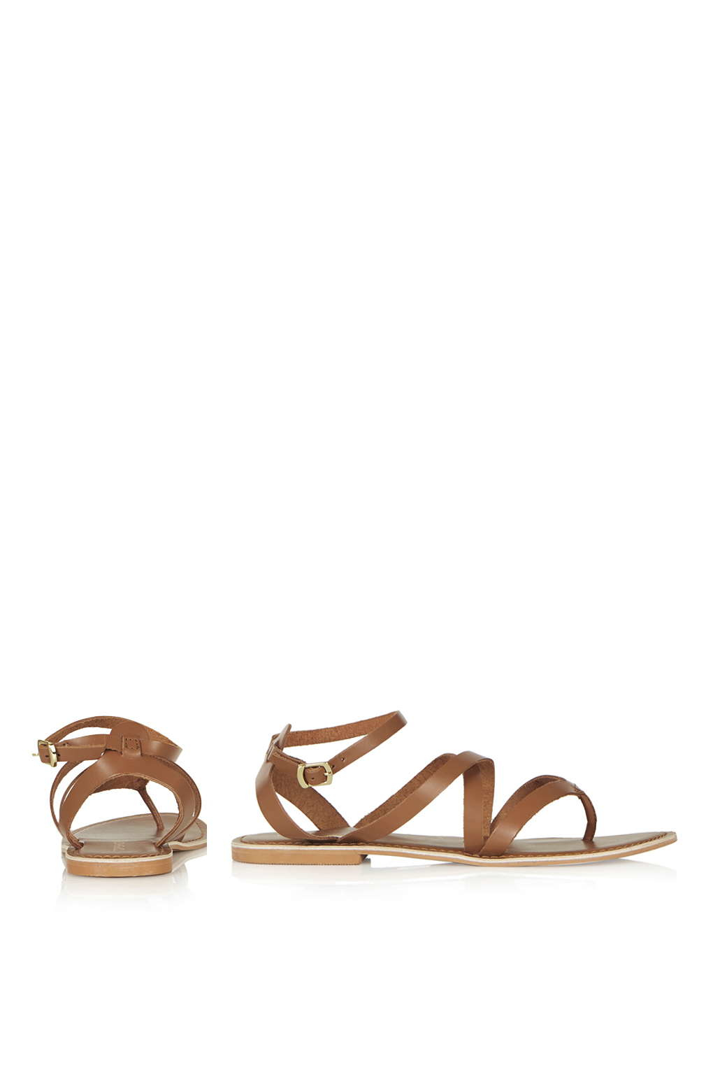 6f7f8ad64d249 Lyst - TOPSHOP Hercules Strappy Leather Sandals in Brown