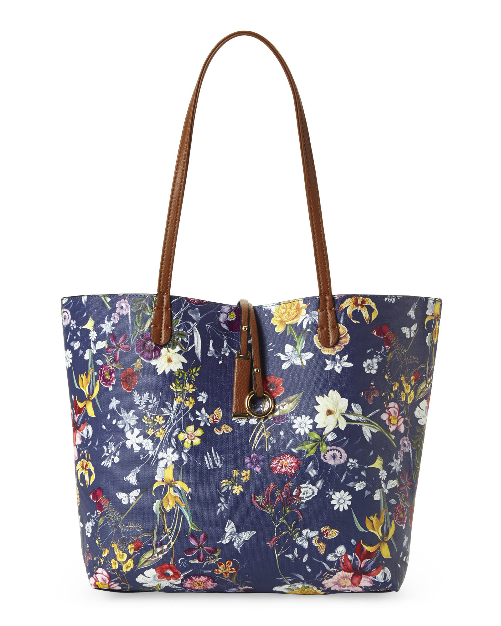 Imoshion Blue U0026 Cognac Reversible Bag-In-Bag Garden Floral Tote | Lyst