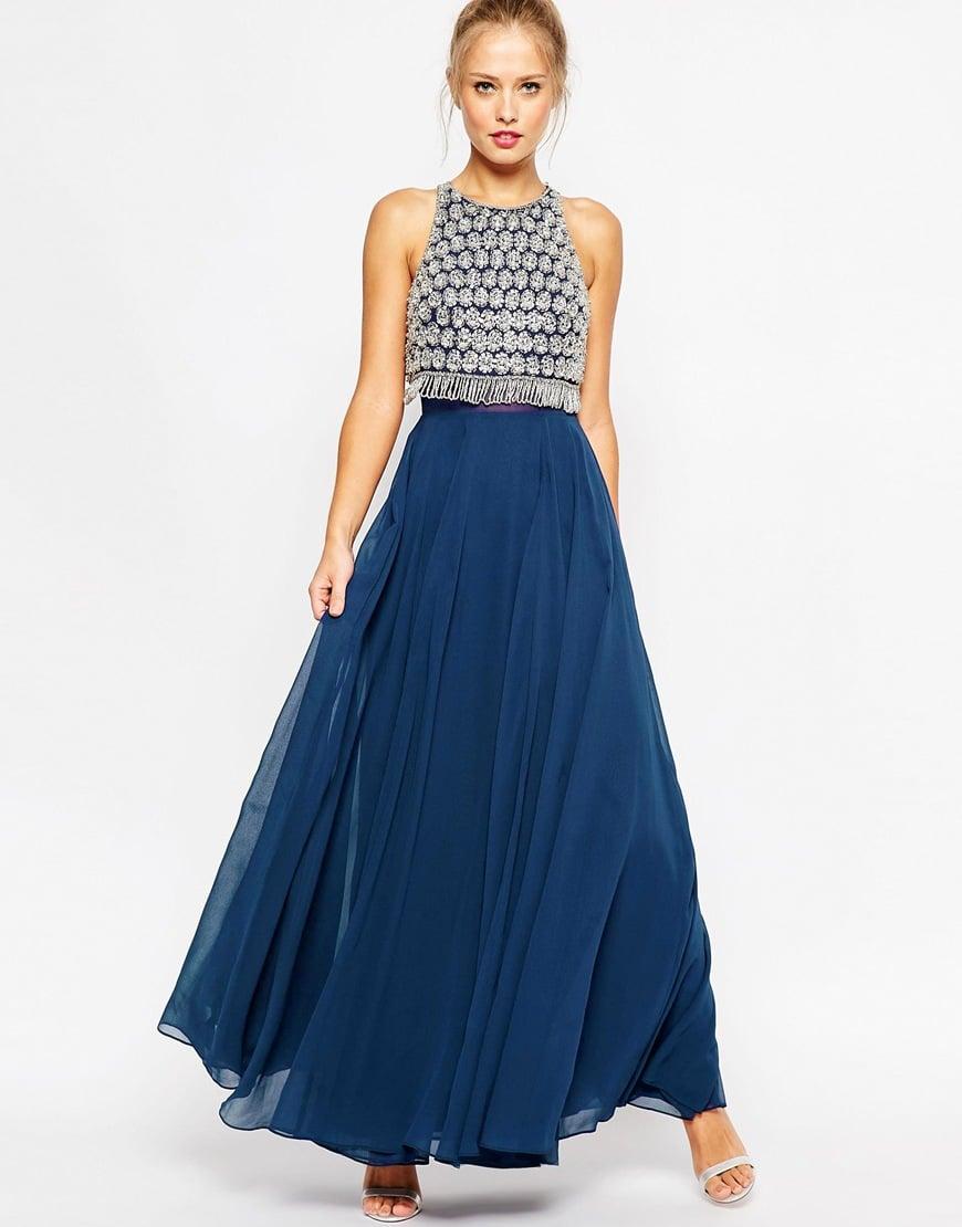 asos embellished crop top maxi dress in blue navy lyst. Black Bedroom Furniture Sets. Home Design Ideas