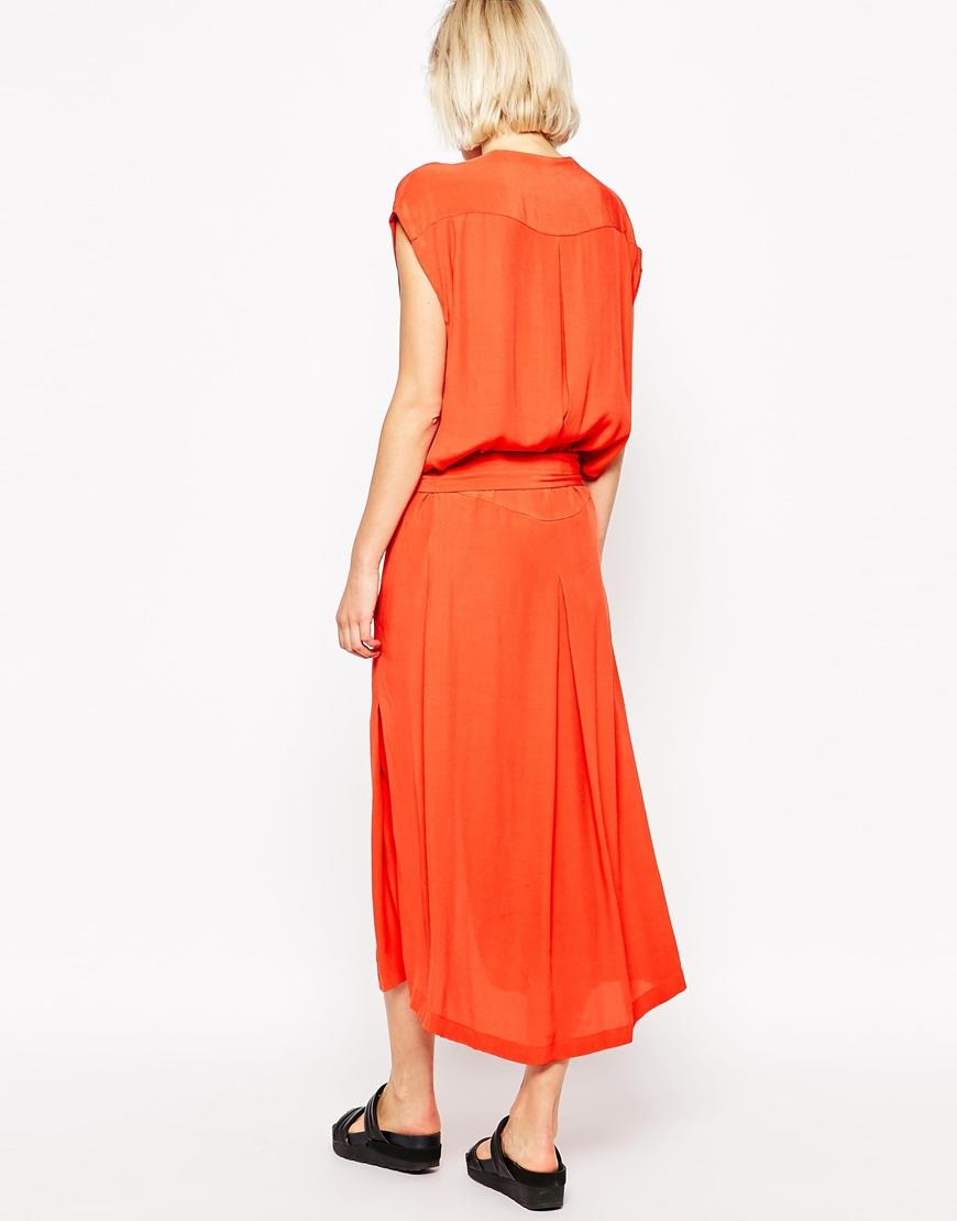 Lyst See By Chlo 233 Tie Waist Sleeveless Dress In Orange