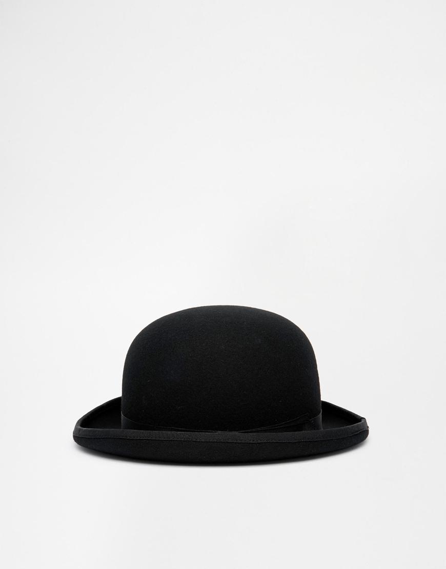 asos bowler hat in black felt in black for lyst