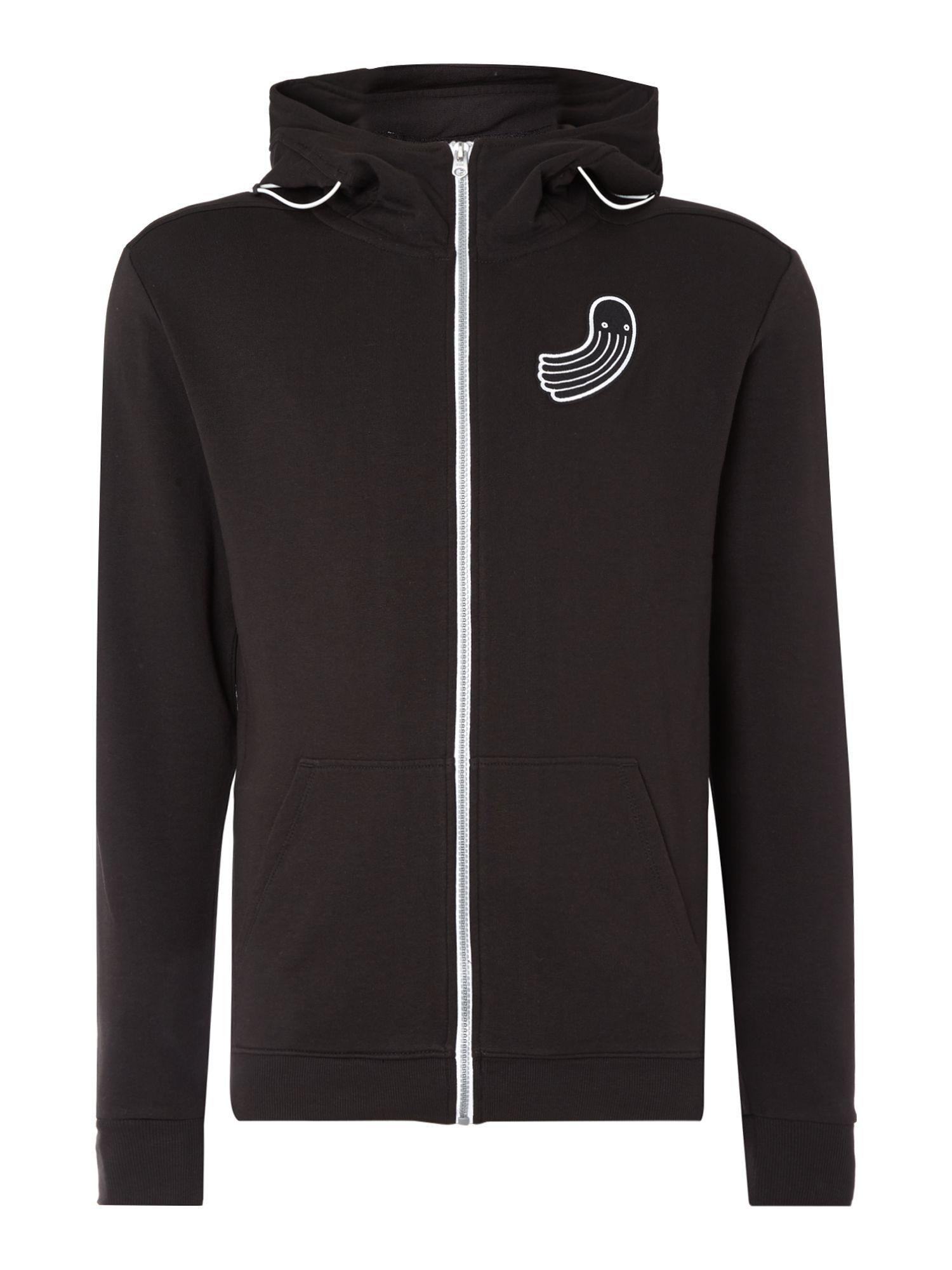 g star raw pharrell williams zip up logo hoodie in black. Black Bedroom Furniture Sets. Home Design Ideas