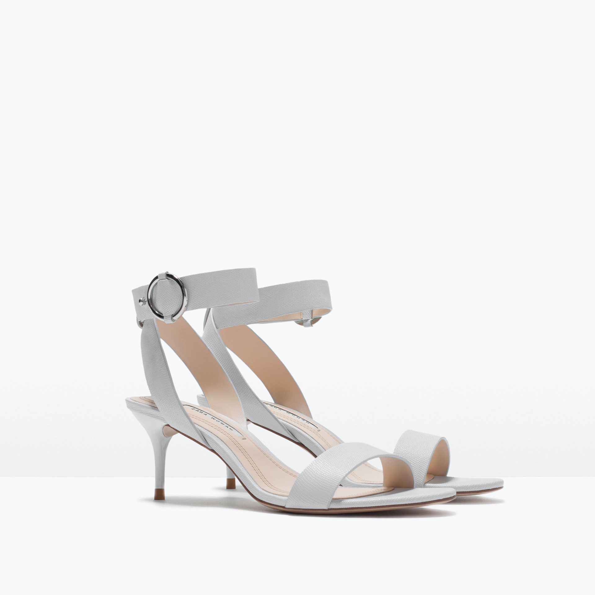Zara Mid-Heel Sandals With Ankle Strap Mid-Heel Sandals With Ankle