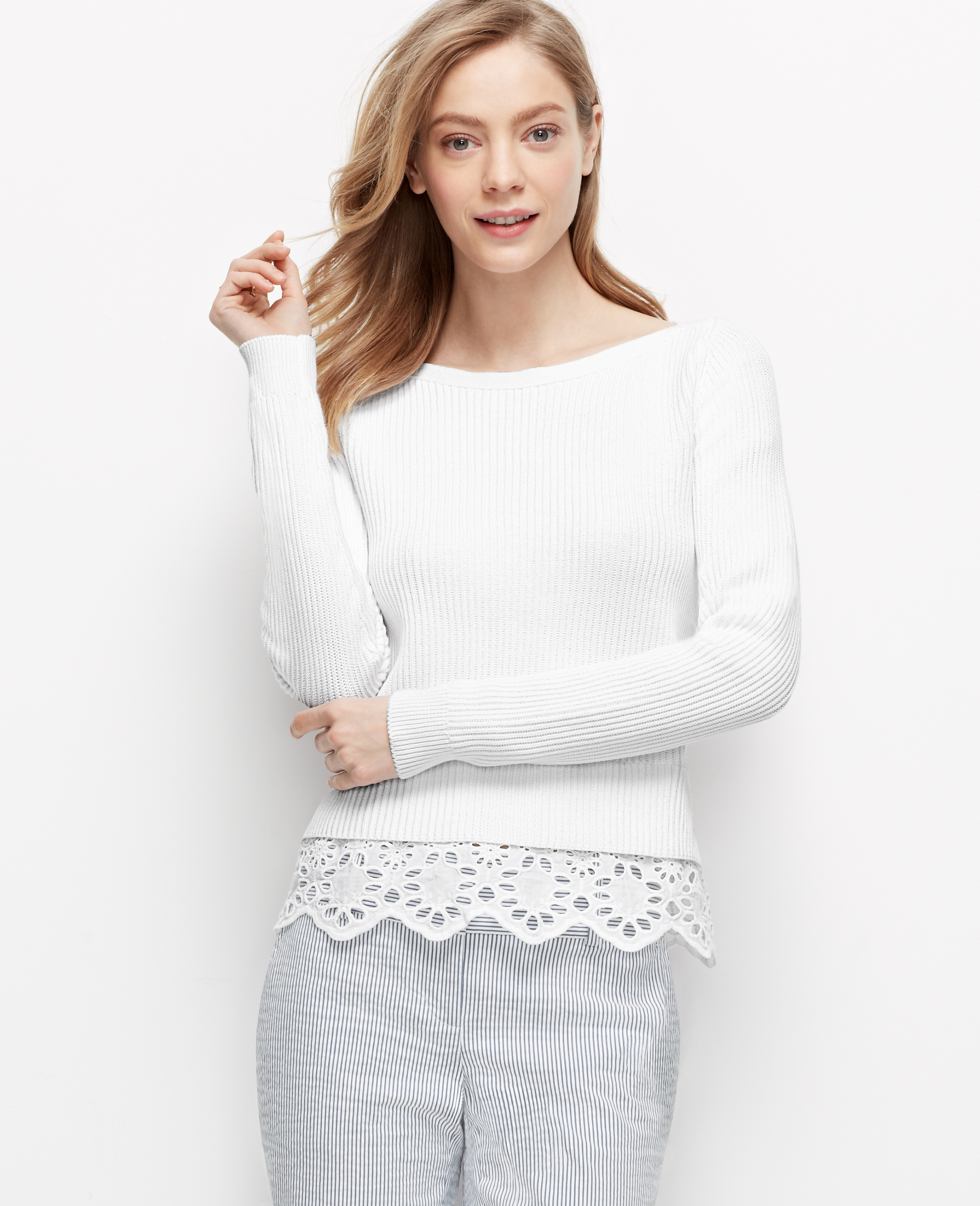 194d9ceb9e Lyst - Ann Taylor Tiered Lace Sweater in White