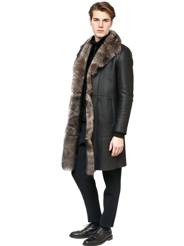 7c54cdb0 Emporio Armani Gray Shearling Fur Coat for men