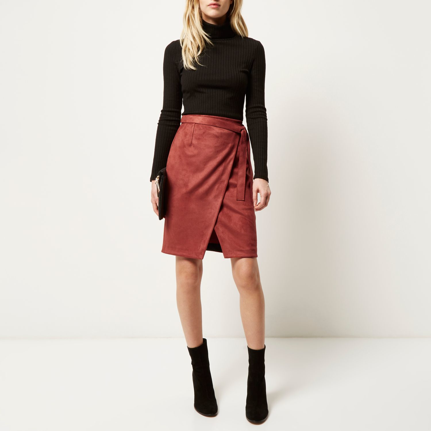 River island Rust Brown Faux Suede Wrap Skirt in Brown | Lyst