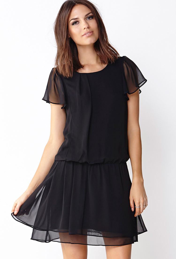 Forever 21 Sweet Soiree Drop Waist Dress in Black | Lyst
