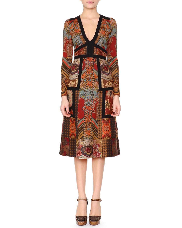 Lyst Etro Patchwork Paisley Jacquard Dress In Orange