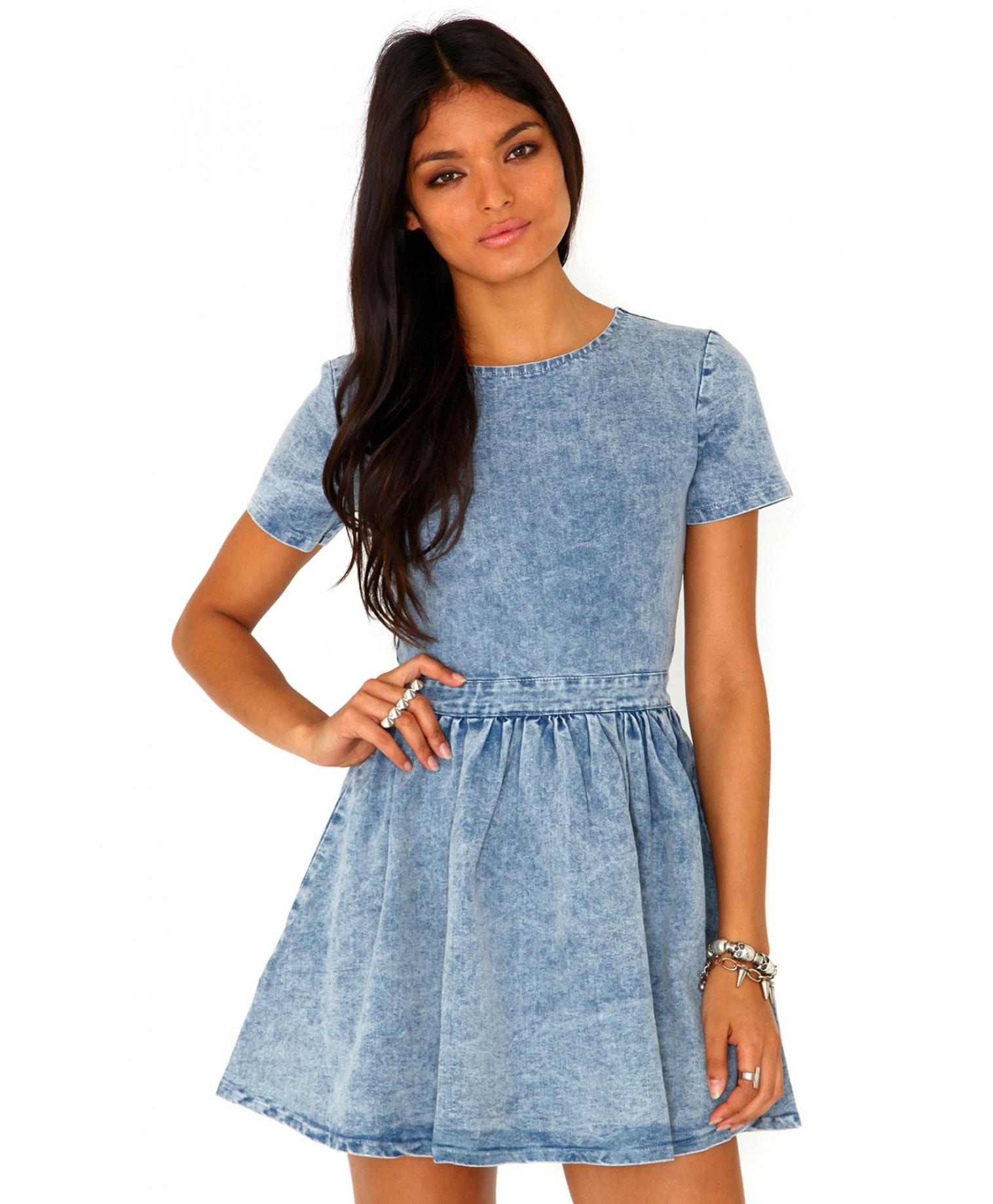 Missguided Aggie Denim Skater Dress in Blue | Lyst