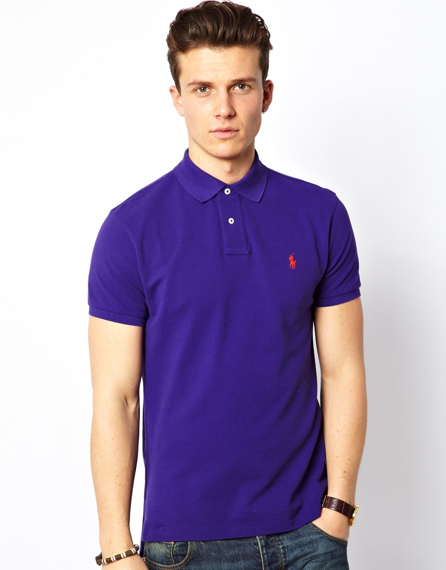 polo ralph lauren polo in slim fit in purple for men lyst. Black Bedroom Furniture Sets. Home Design Ideas