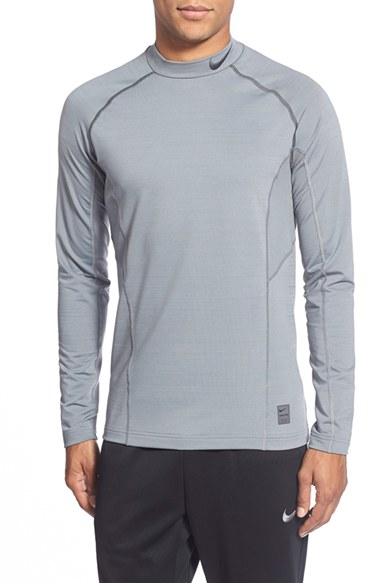 Nike 39 pro hyperwarm 39 fitted long sleeve dri fit t shirt in for Under armour dri fit long sleeve shirts