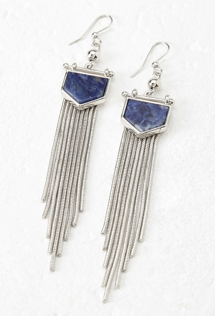 Forever 21 fringed faux stone earrings in blue lyst for Forever 21 jewelry earrings