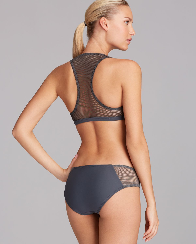 Dkny Solid Mesh Splice Bikini Bottom In Gray Lyst