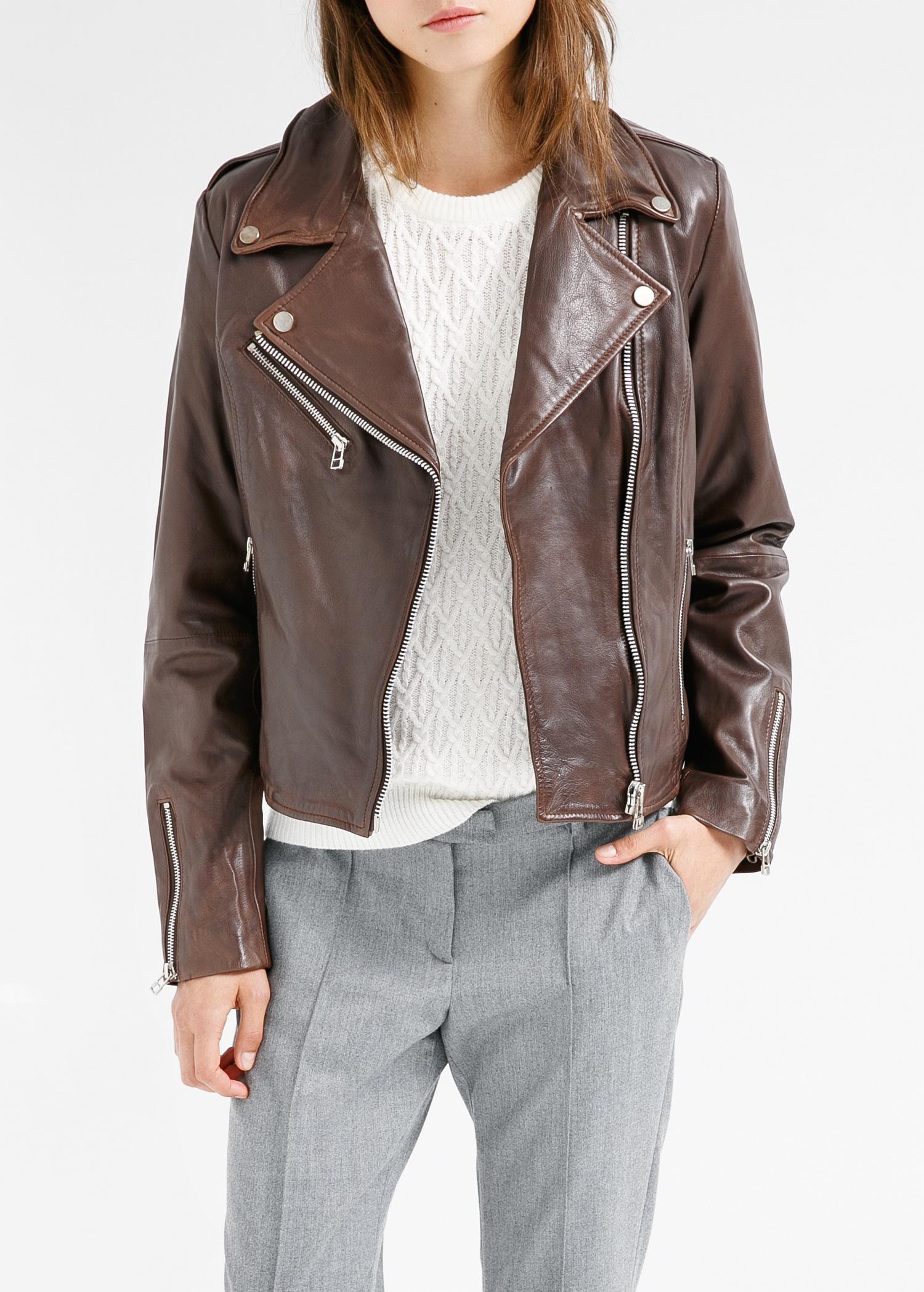 Mango Leather Biker Jacket In Chocolate Brown Lyst