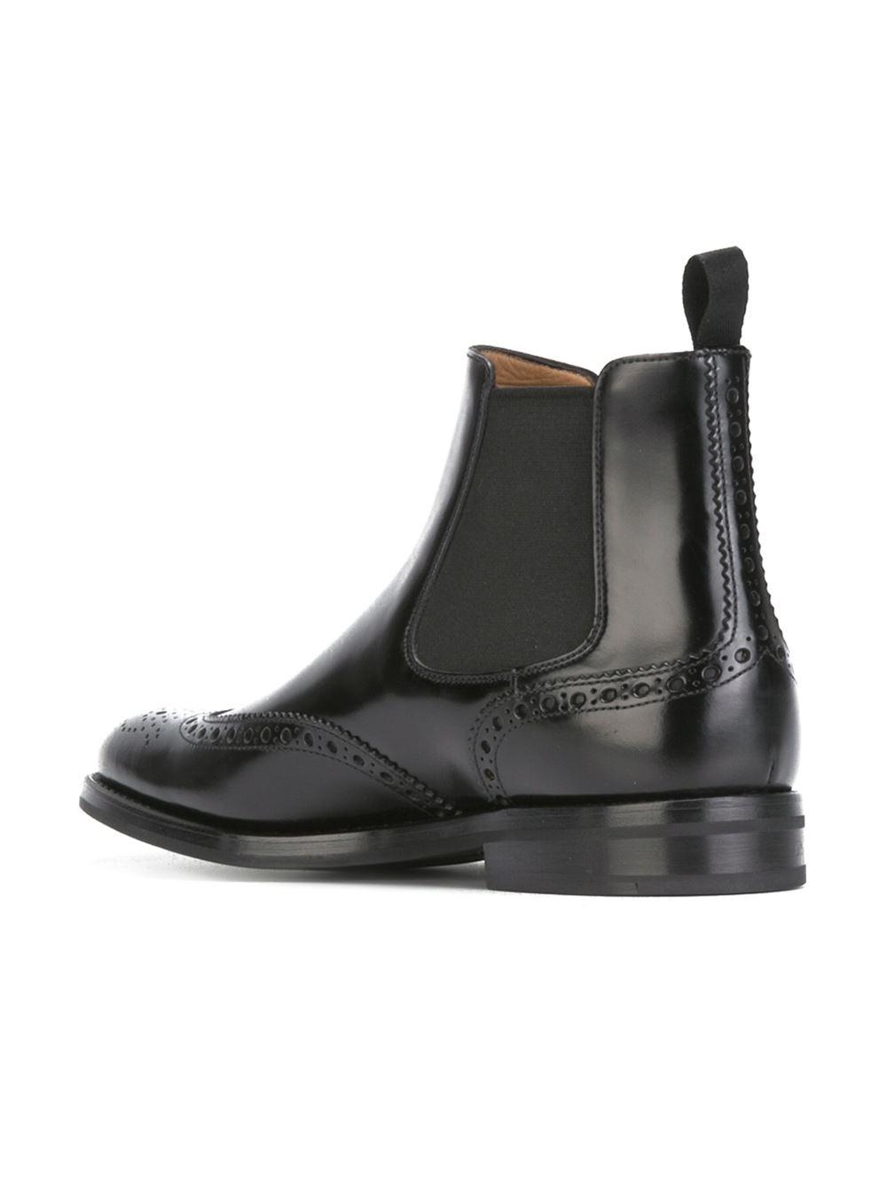Beautiful Dune Womenu0026#39;s Quentin Leather Mix Brogue Chelsea Boots - Black Womens Footwear | TheHut.com