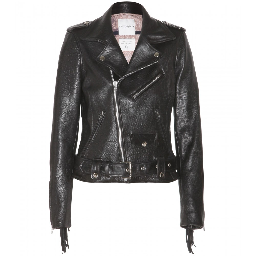 Each X Other Fringed Leather Biker Jacket In Black Lyst