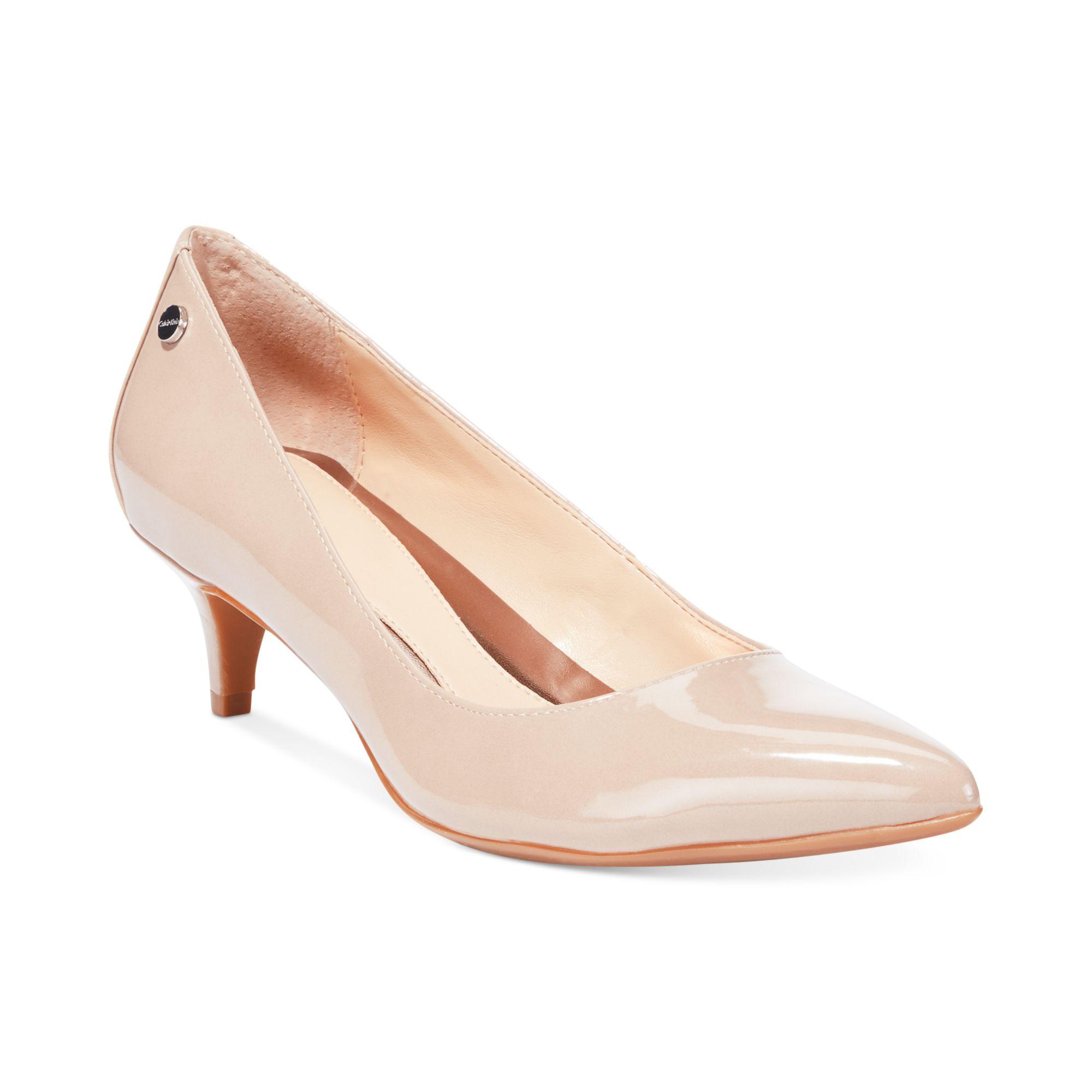 a6b43c936c2 Lyst - Calvin Klein Nicki Kitten Heel Pumps in Natural