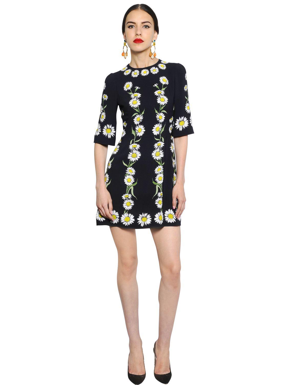 Lyst Dolce Amp Gabbana Daisy Printed Viscose Cady Dress In