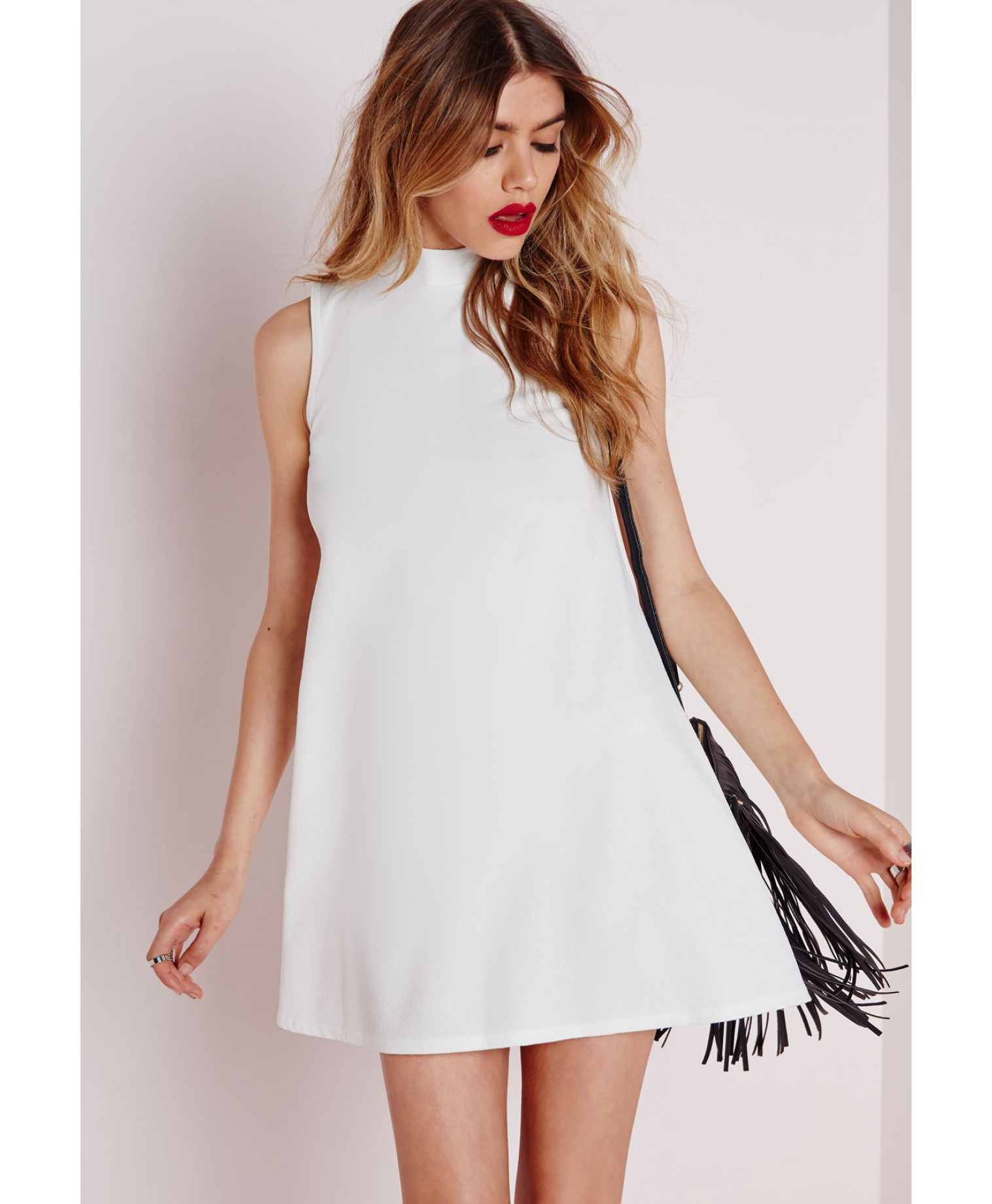 Missguided Crepe Sleeveless Swing Dress White in White | Lyst