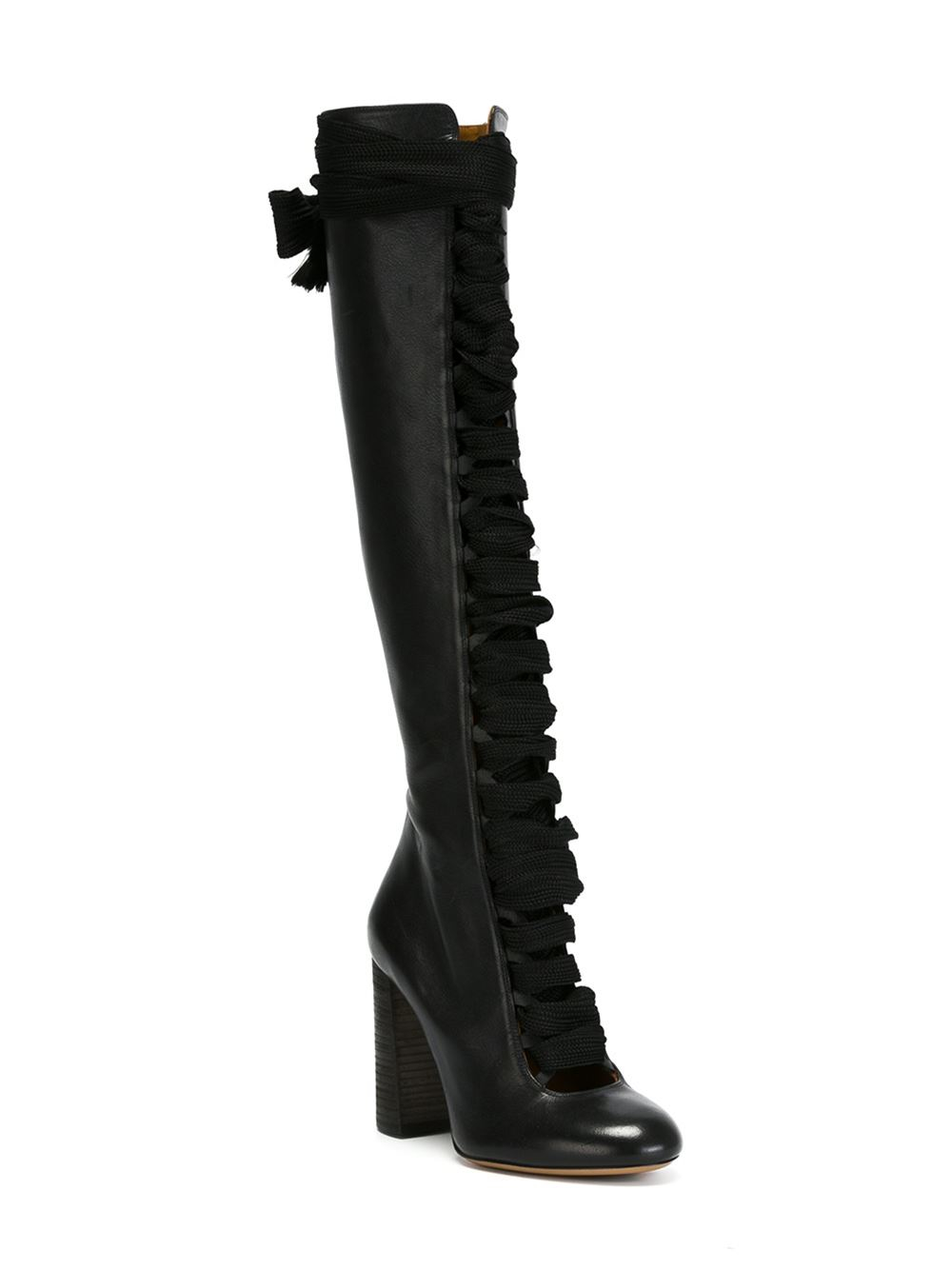 Chlo 233 Lace Up Knee High Boots In Black Lyst