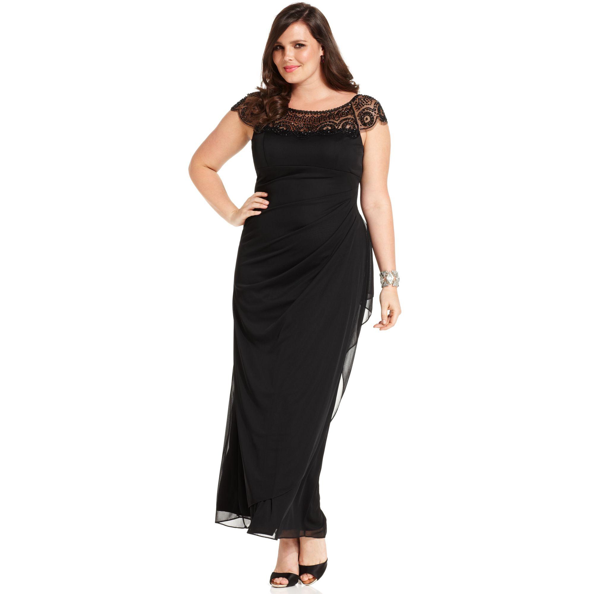Xscape Xscape Plus Size Dress Cap Sleeve Beaded Draped in Black | Lyst