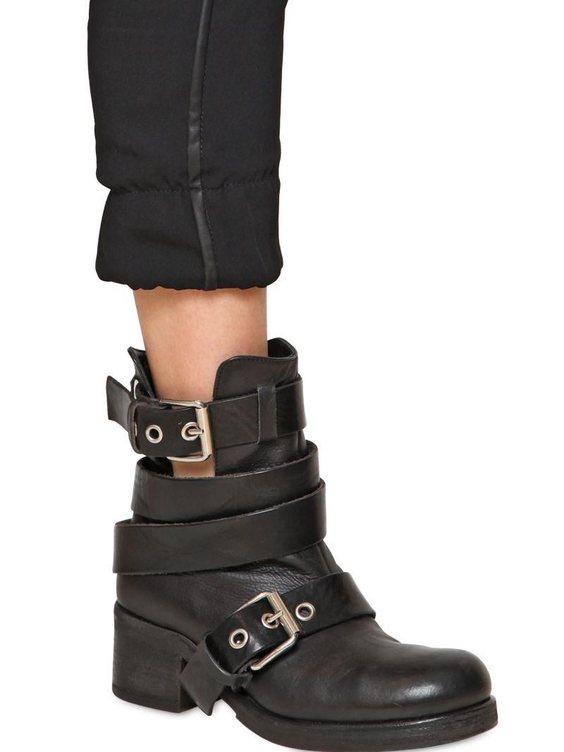 strategia 50mm belted leather biker boots in black lyst