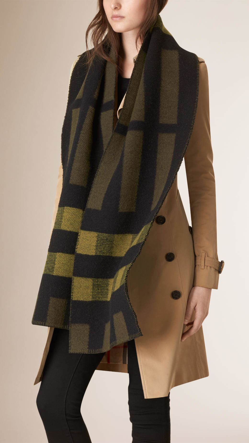 Burberry Check Wool Cashmere Blanket Scarf In Olive Green