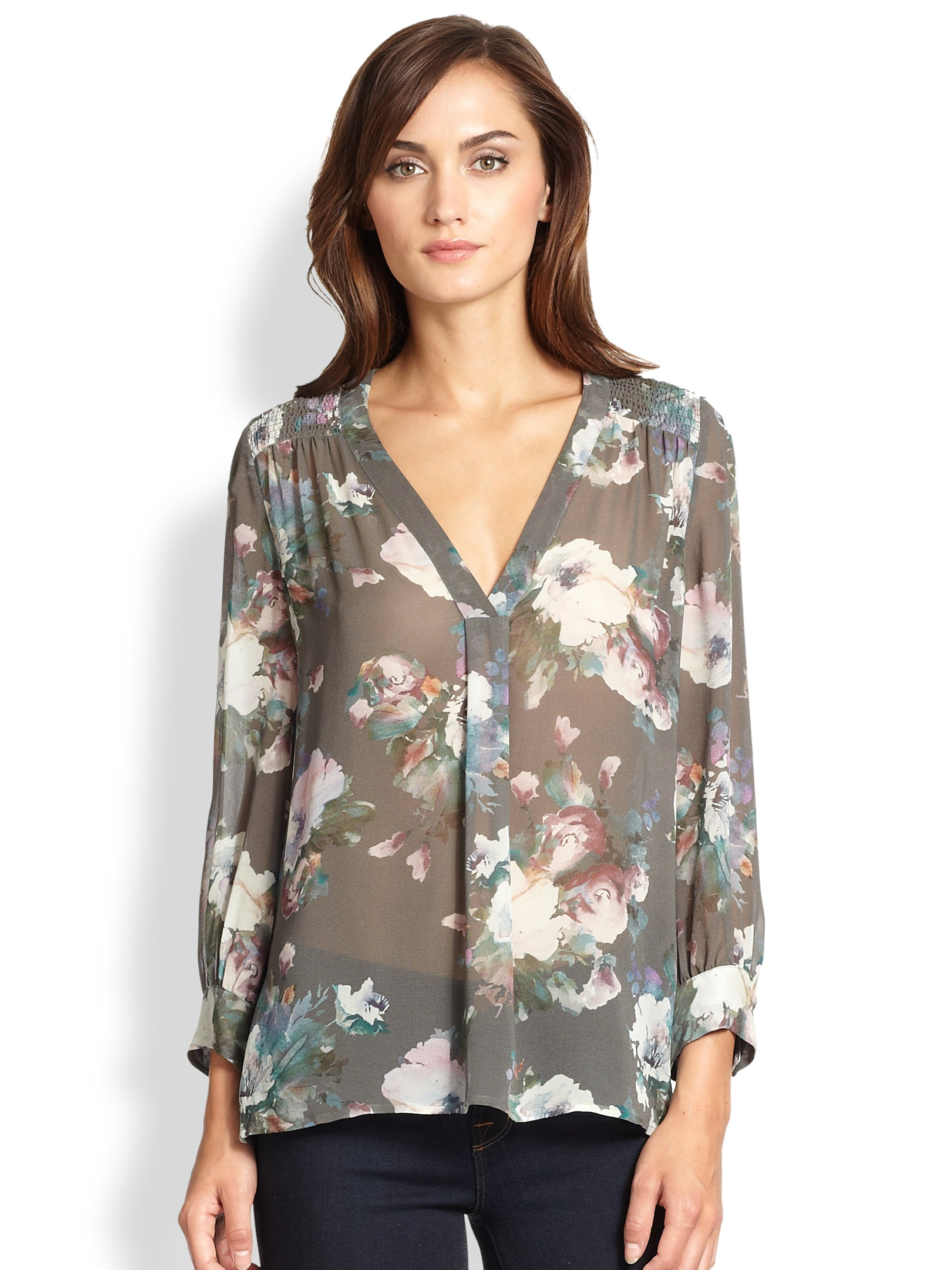 027894ce89f151 Lyst - Joie Aceline Sheer Silk Floral-Print Blouse in Gray