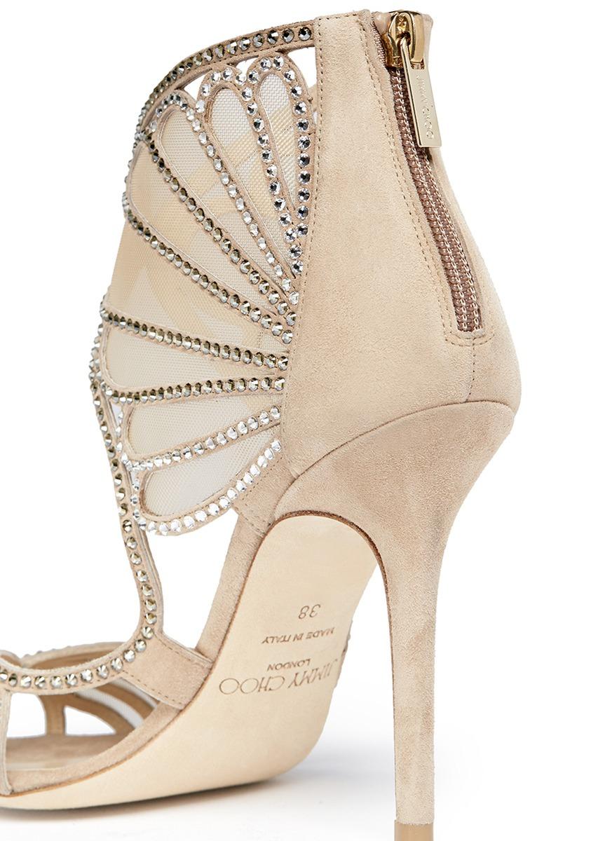 Lyst Jimmy Choo Kole Crystal Mesh Sandals In Natural