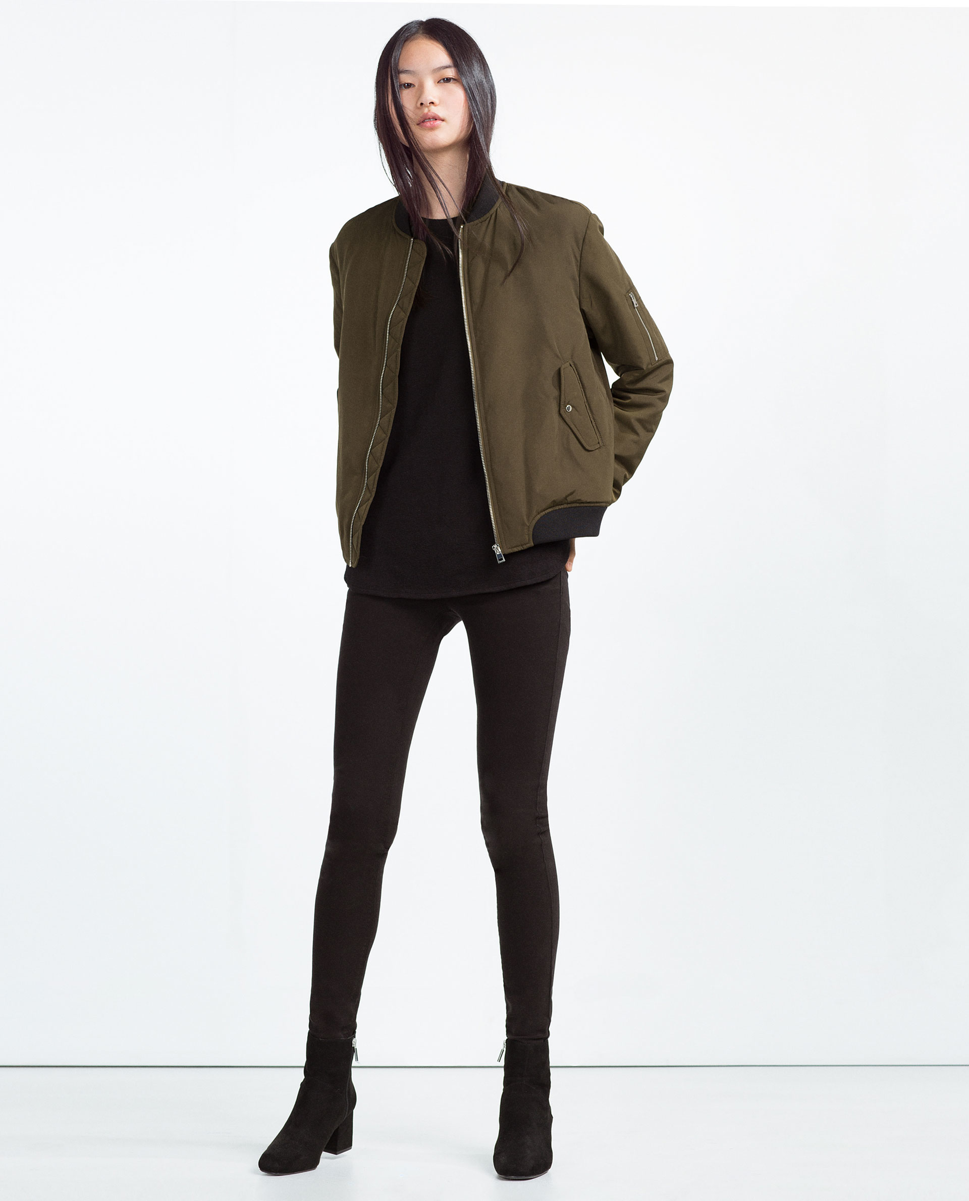 Zara Nylon Bomber Jacket in Green | Lyst