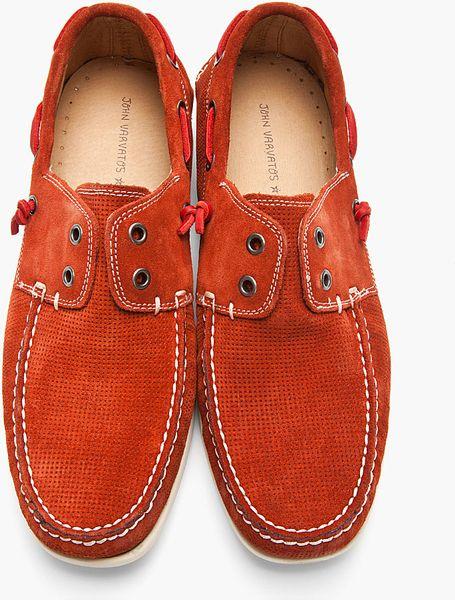 John Varvatos Brick Red Suede Schooner Boat Shoe In Red