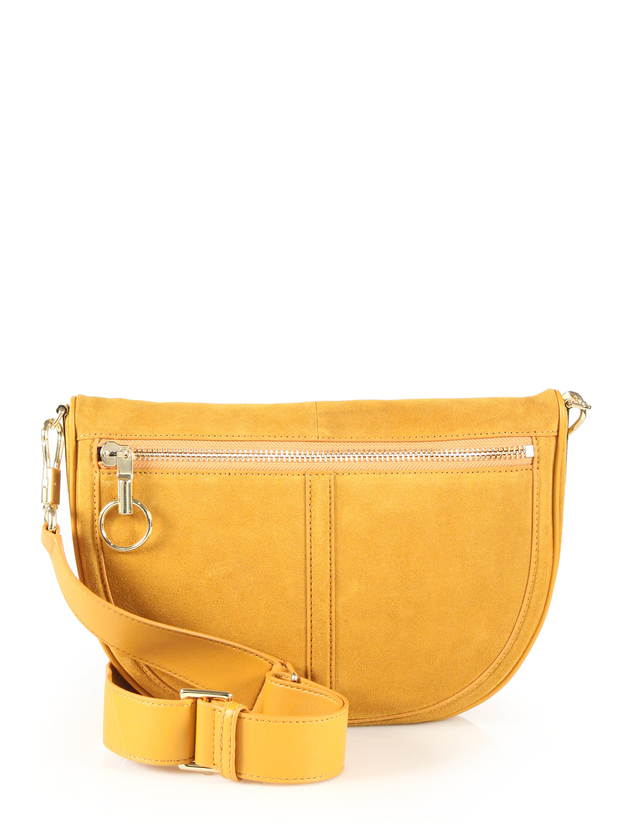 c50efed32b Elizabeth and James Scott Moon Small Suede Crossbody Bag in Yellow ...