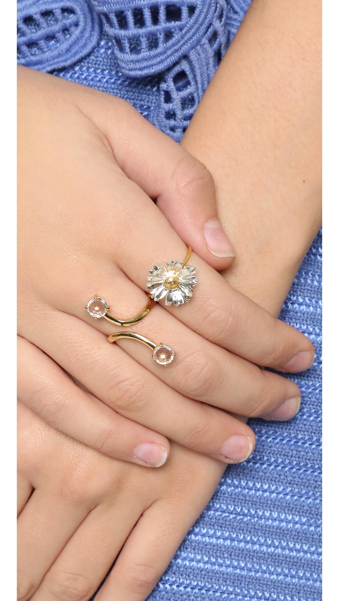 Alex Monroe Big Daisy Ring in Gold/Silver (Metallic)