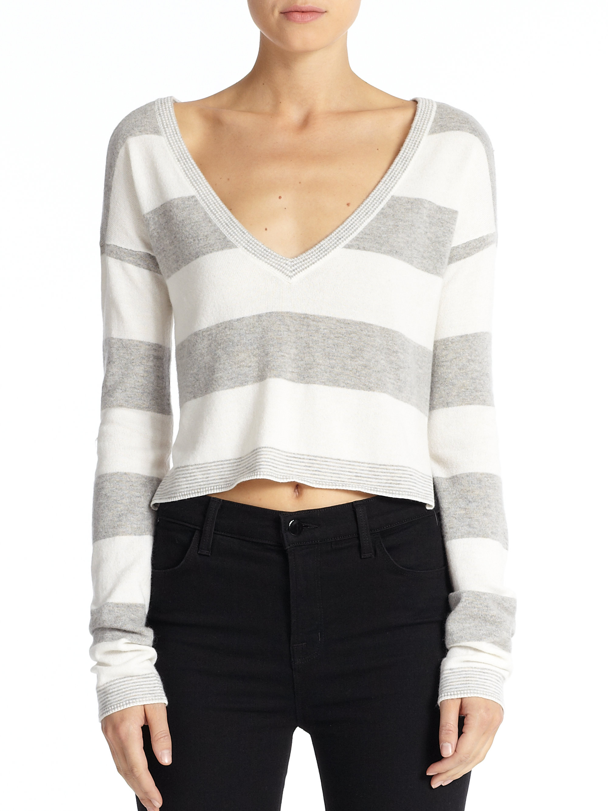 Lyst Alice Olivia Cropped Striped Sweater In Gray