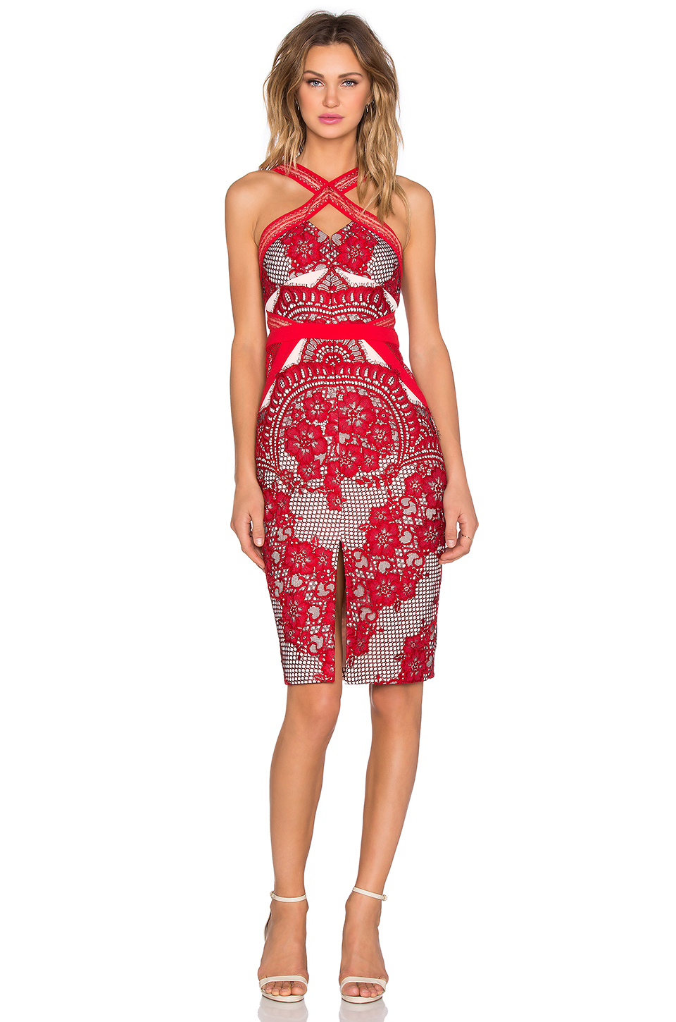 Three floor aruba midi dress in red lyst for 11th floor apparel