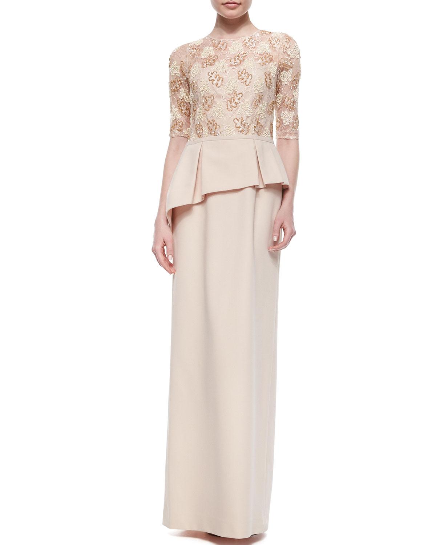 Lyst Teri Jon Lace Bodice Peplum Column Gown In Natural