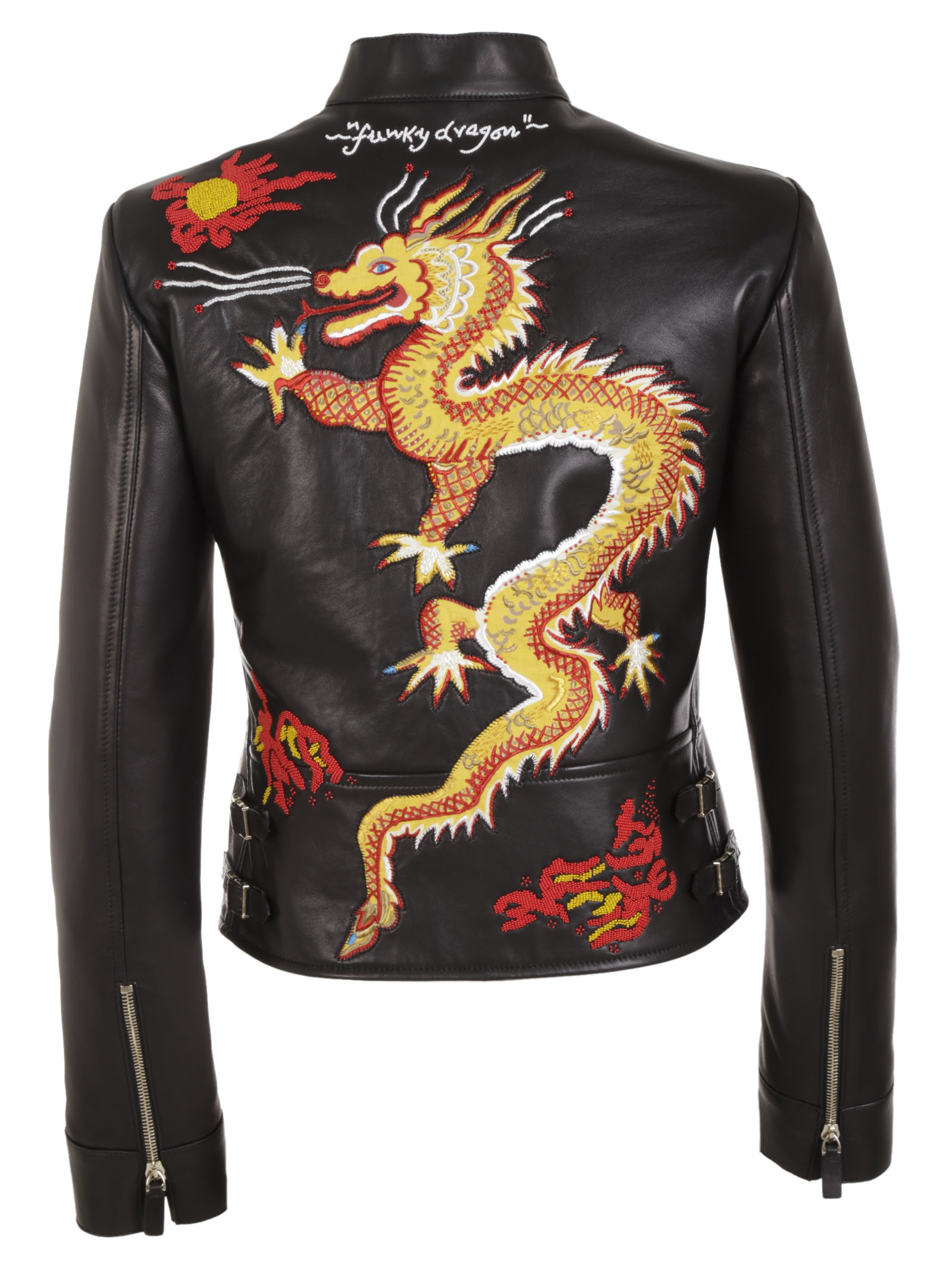 Valentino dragon embroidered leather jacket in black lyst